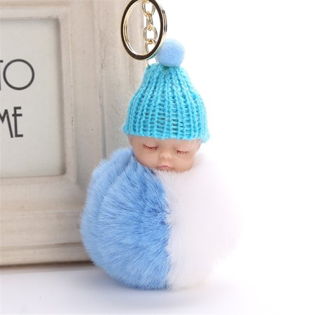 iLH Mallroom 8CM Cute Doll Keychain Pendant Women Key Ring Holder Pompoms Key - Cute Keychains