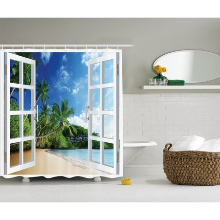 Palm Trees Tropical Island Beach Nature Paradise Polyester Fabric Shower Curtain ()