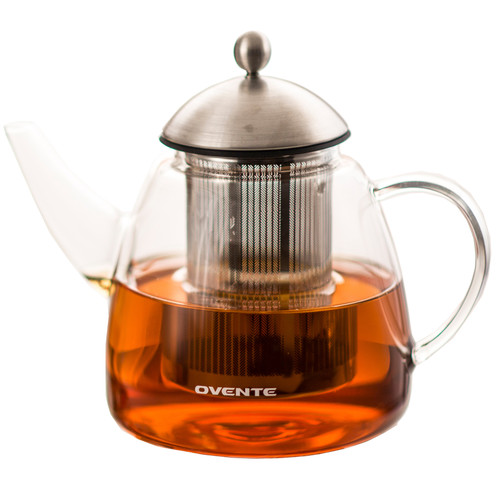 Ovente Glass Teapot, 61 oz, with Stainless Steel Mesh Filter, Heat Tempered Borosilicate Glass with Glass Teapot Warmer (FGA61T)