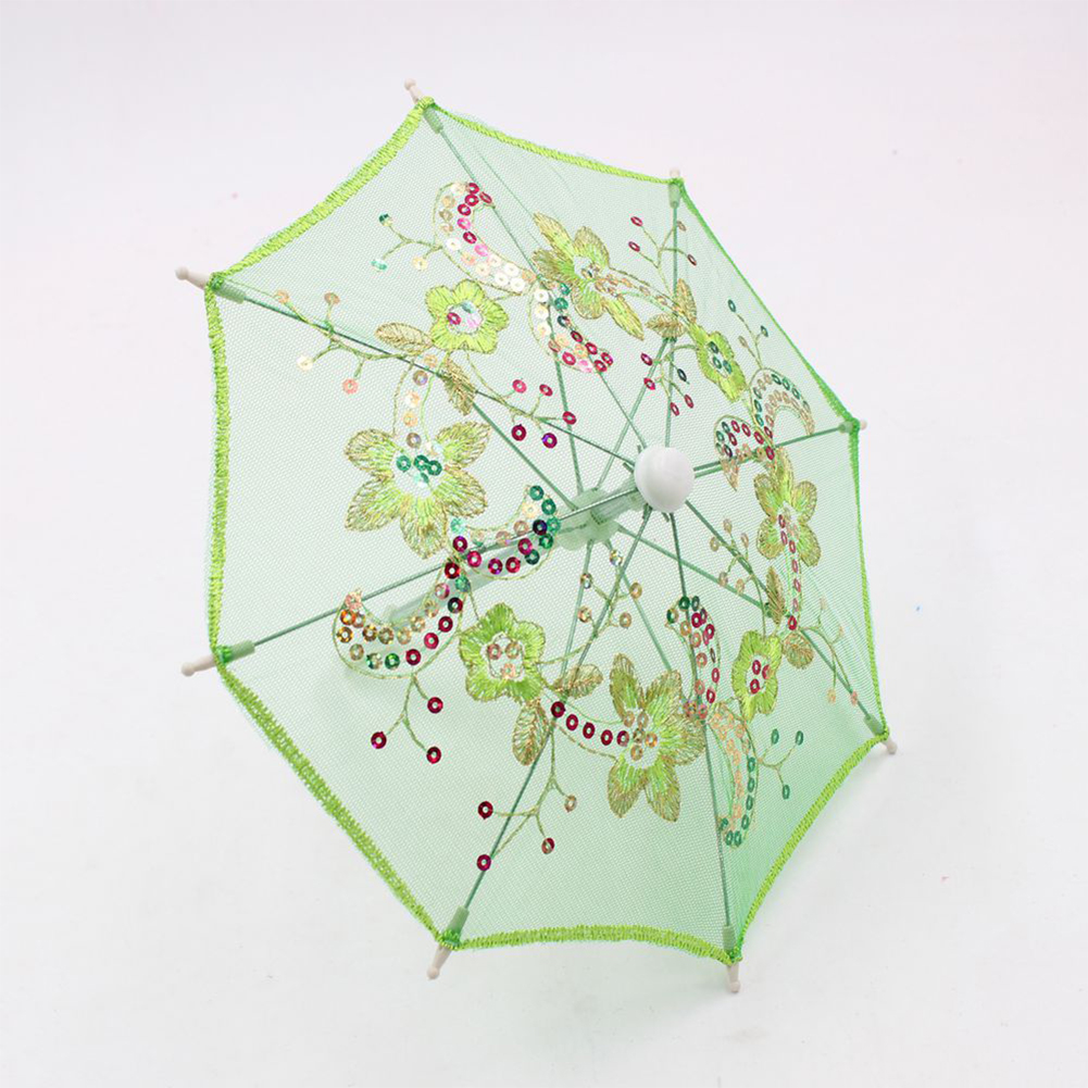 Lace Sequins Umbrella for 16-18 Inch Dolls Doll Accessories Girl Gift Kids House Toy Color:green Height:as shown