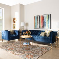 Baxton Studio Zanetta Glam and Luxe Navy Velvet Upholstered Gold Finished 2-Piece Sofa and Lounge Chair Set
