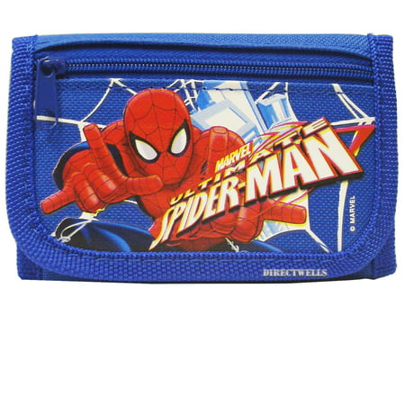 Spiderman Action Authentic Licensed Blue Trifold Wallet