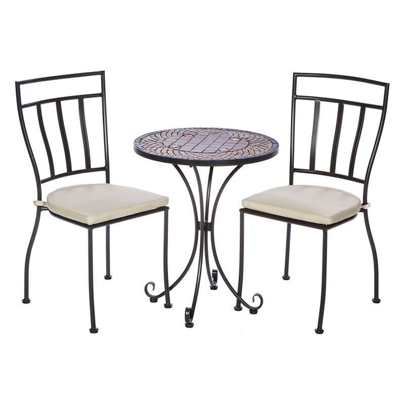Alfresco Dublin Wrought Iron 3 Piece Round Patio Bistro Set