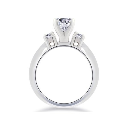 1ct Three Stone Diamond Engagement Anniversary Ring 14K White Gold - image 2 de 3