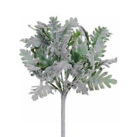 Faux Dusty Miller Bush in Green and Gray - Flocked - 9.5