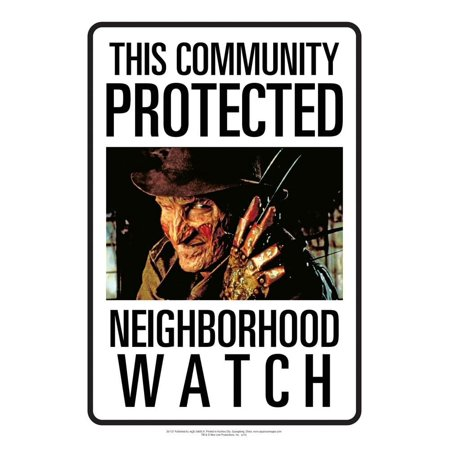 Nightmare on Elm Street Freddy Neighborhood Watch Tin Sign