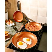 Pro-G Set Of 3 Ultimate Nonstick Frying Pans Titanium Ceramic Coating That Makes Them Nonstick and Scratchproof