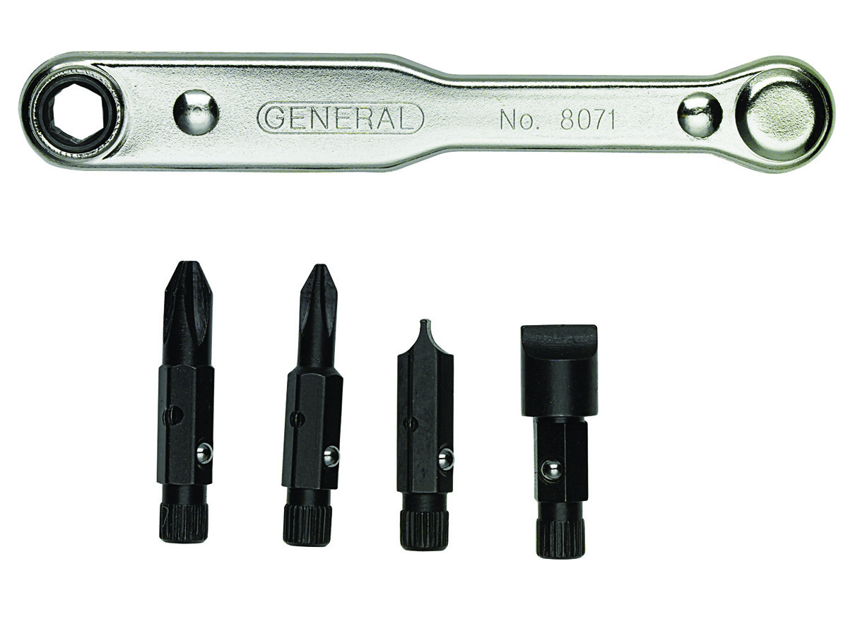 General Tools 8071 Five-Piece Ratchet Offset Screwdriver Set with Pass-through Handle by Overstock