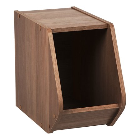Stores Close By (IRIS Modular Wood Stacking Open Storage Box, Narrow Dark Brown, Retractable door stays open; closes smoothly to hide items away for a clean look By IRISUSAInc from)