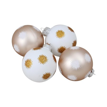 "4-Piece Set of White and Champagne Gold Glittered Starburst Christmas Glass Ball Ornaments 3"" (80mm)"