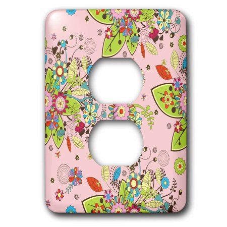 3dRose Pretty Pink, Red, Green, and Blue Contemporary Flower Pattern - 2 Plug Outlet Cover