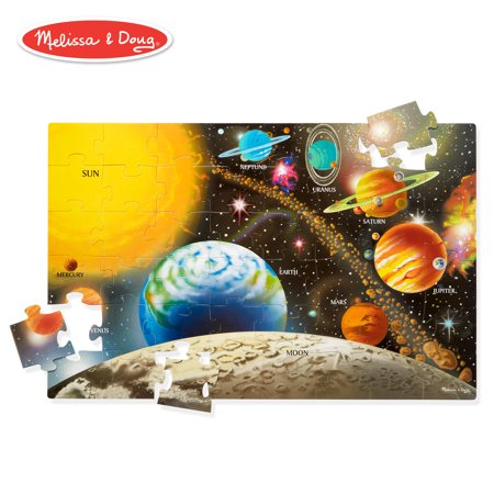 "Melissa & Doug Solar System Floor Puzzle (Floor Puzzles, Easy-Clean Surface, Promotes Hand-Eye Coordination, 48 Pieces, 36"" L x 24"" W) Construction Duty Floor Puzzle"