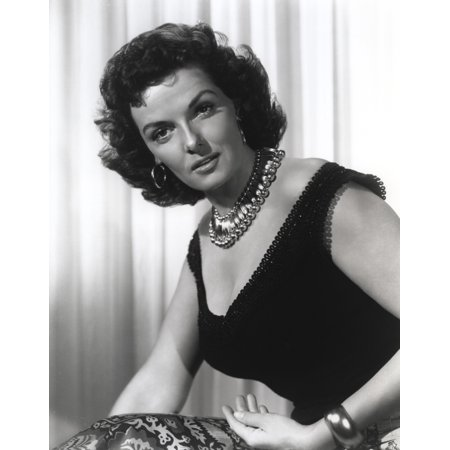 Jane Russell Portrait in Black Silk Deep V-Neck Dress and Pearl Necklace with Hoop Earrings Photo Print - Hoop Dresses For Sale