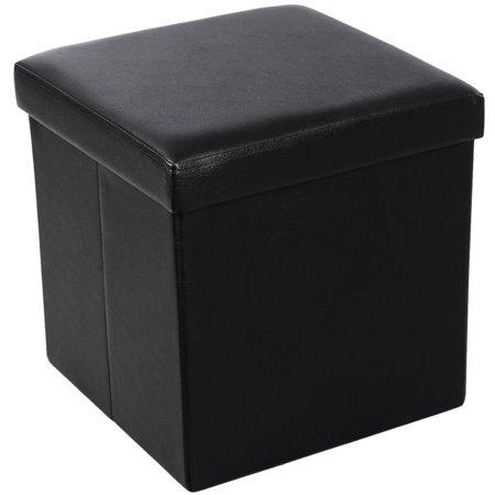 UBesGoo Folding PU Ottoman Bench Pouffe Cube Storage Box Lounge Seat Footstools ()