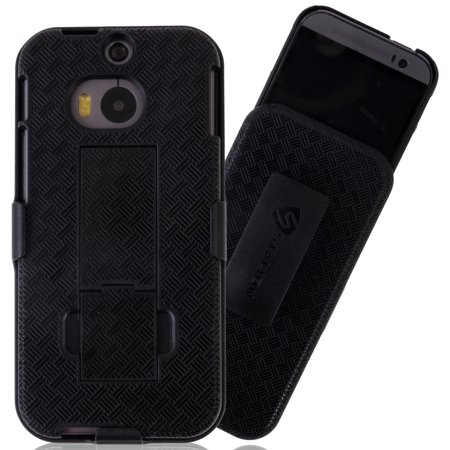 Stalion® Secure Belt Clip Holster & Shell Case Cover w Kickstand for HTC One