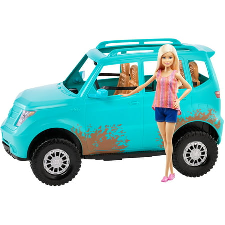 Barbie Camping Fun Doll and Teal Off-Road Adventure Vehicle ()