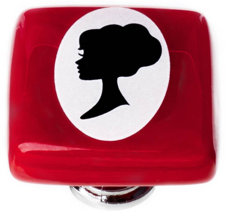 Woman Cameo Square Knob in Red
