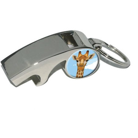 Giraffe, Zoo Animal Safari, Plated Metal Whistle Bottle Opener Keychain Key Ring (Zoo Plates)
