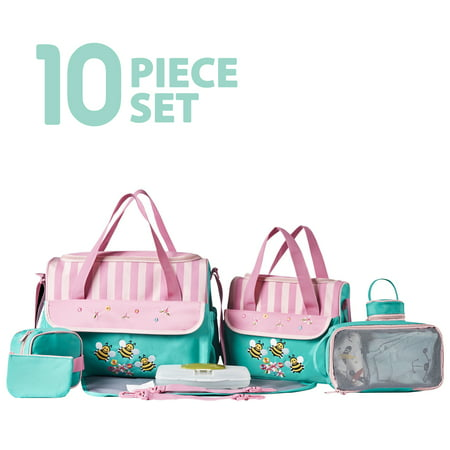 SoHo Collections, Large Capacity Tote Diaper Bag, 10 Piece Complete Set with Stroller Straps (Dancing Bees) Bumble Bee Diaper Bag