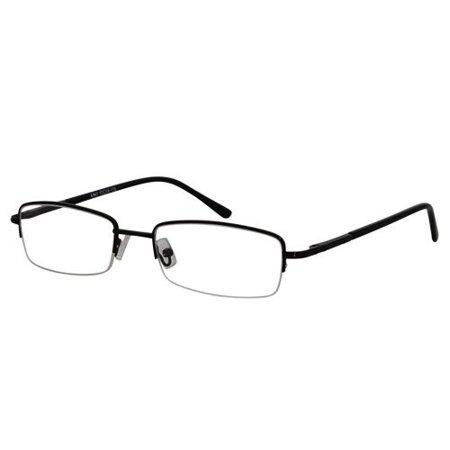 Ebe Men Black Rectangle Half Rim Spring Hinge Reading Glasses a963 ()
