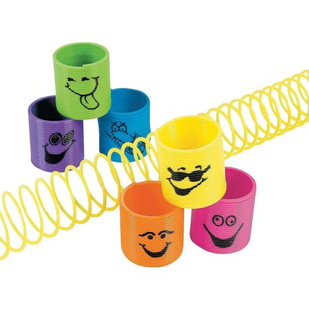 Plastic Mini Goofy Smile Face Slinkys 1 3/8 Inches - Pack Of 12 - Assorted Colored Cool Funny Faces Magic Coil Springs – For Kids Great Party Favors, Bag Stuffers, - Party Prizes