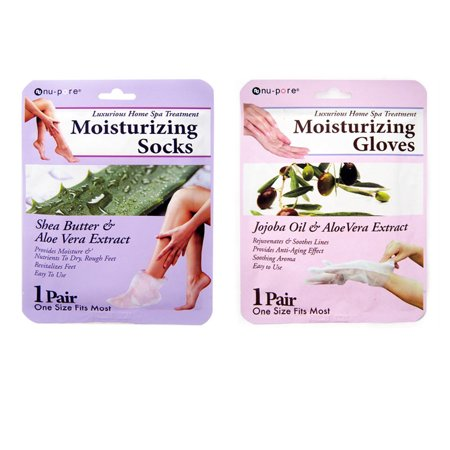 2 Pc Set Moisturizing Socks Hand Skin Gloves Beauty Spa Nail Therapy (Nails Gloves)