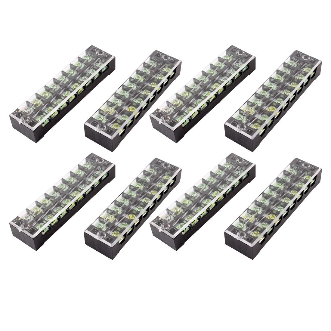 Unique Bargains 8 Pcs Dual Row 8P Screw Barrier Terminal Block Strip Connector 600V 25A