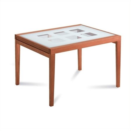 Domitalia poker 120 dining table in cherry brown and white for 120 table