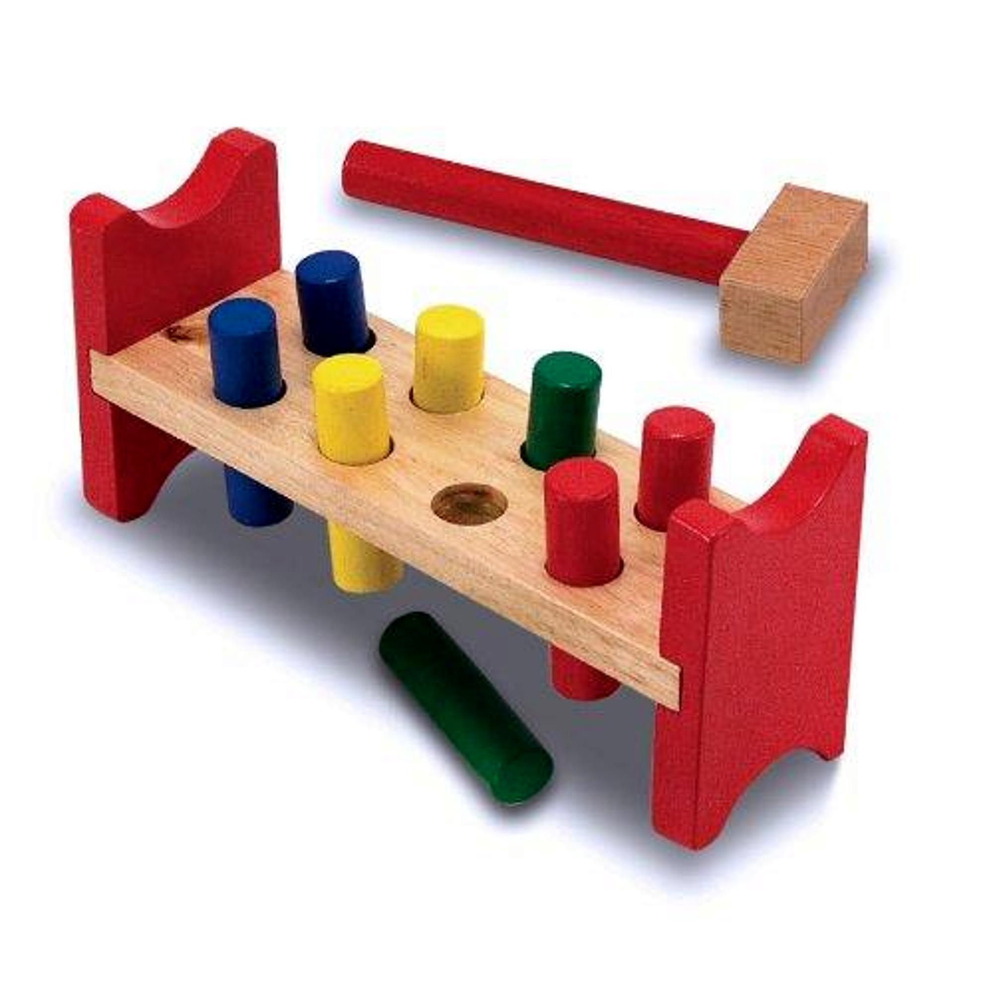 real wood toys-wooden hammer bench