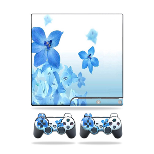 Mightyskins Protective Vinyl Skin Decal Cover for Sony Playstation 3 PS3 Slim skins + 2 Controller skins Sticker Blue Flowers
