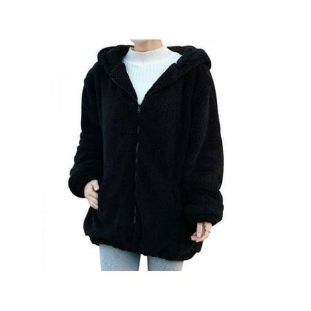 84223724a82 Nicesee - Nicesee Women Warm Casual Hoodie Coat Winter Fur Fluffy Bear Ear  Loose Jacket - Walmart.com