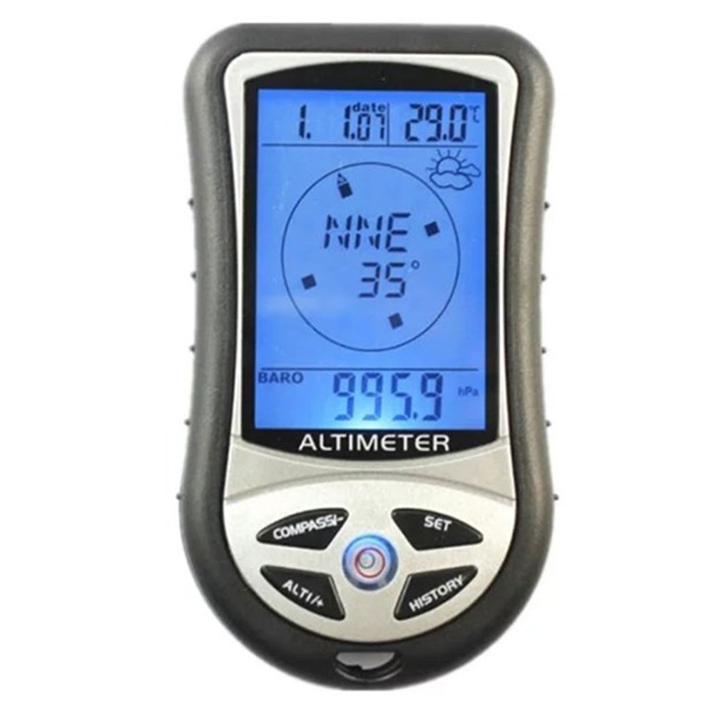 8 In 1 Multifunctional Digital LCD Compass Portable Altimeter Barometer Thermometer for Hiking Camping by