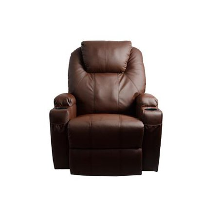 Mcombo Massage Recliner Vibrating Sofa Heated Electric Leather Lounge Chair 8031 Brown
