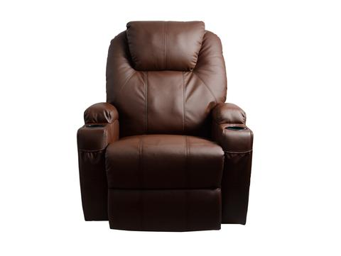 mcombo massage recliner vibrating sofa heated electric leather lounge chair brown