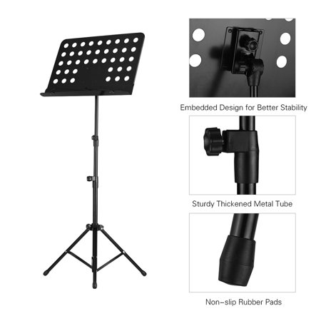 Portable Metal Music Stand Detachable Musical Instruments for Piano Violin Guitar Sheet Music Black - image 6 of 7