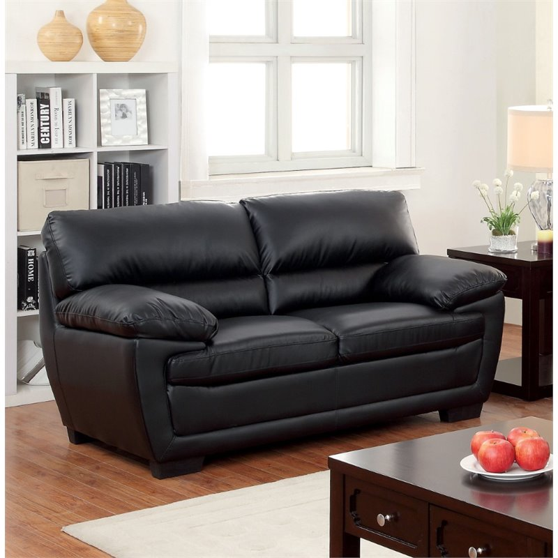 Furniture of America Jamison Faux Leather Loveseat in Black