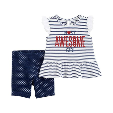 Child of Mine by Carter's Peplum Top & Shorts, 2pc Outfit Set (Toddler Girls)