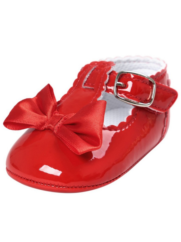 Lavaport Newborn Baby Girls Bowknot Shoes PU Leather Buckle First Walkers