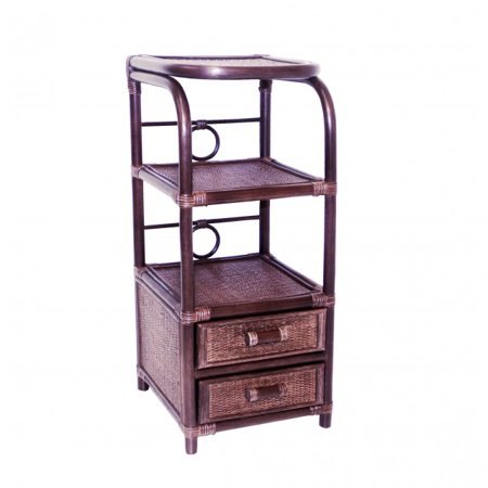- SK New Interiors Phone Table  Bookcase Designer Handmade ECO Rattan Wicker w/ 2 Drawers, Dark Brown