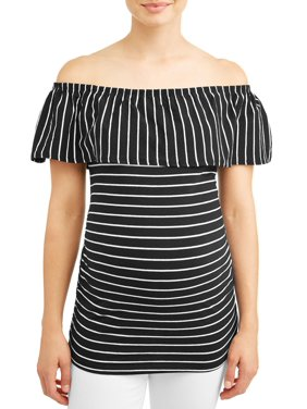 c20e8a9d2f9f74 Product Image Maternity Stripe Off the Shoulder Knit Top - Available in  Plus Sizes