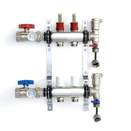 CMI - �� Pex Manifold Radiant Floor Heating Set Stainless Steel - Loop/ Branch - Adjustable Flow Valves - Automatic Air