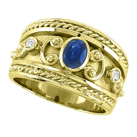 Oval Blue Sapphire and Diamond Byzantine Ring 14k Yellow Gold (0.73ct)