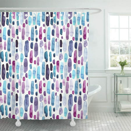 PKNMT Colorful Abstract of Watercolor Blue Deep Violet and Pink Splashes Purple Blot Brush Waterproof Bathroom Shower Curtains Set 66x72 -