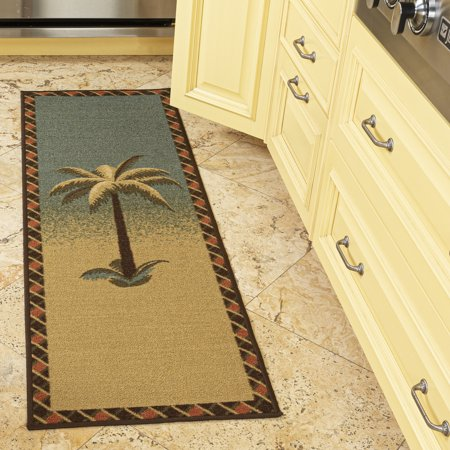 Ottomanson Sara's Kitchen Tropical Palm Tree Bathroom Mat Non-Slip Runner Rug, Multicolor, 20