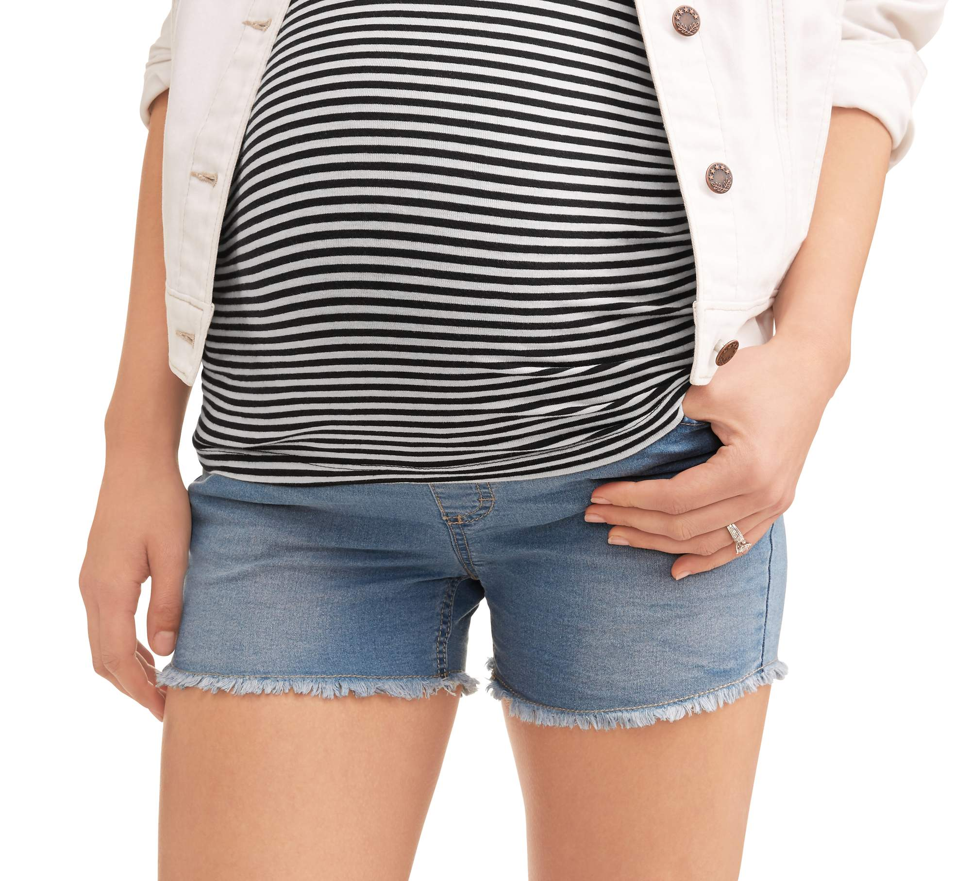 Oh Mamma Maternity Full Panel Super Soft 5 Pocket Shorts With Fringe Cuff by