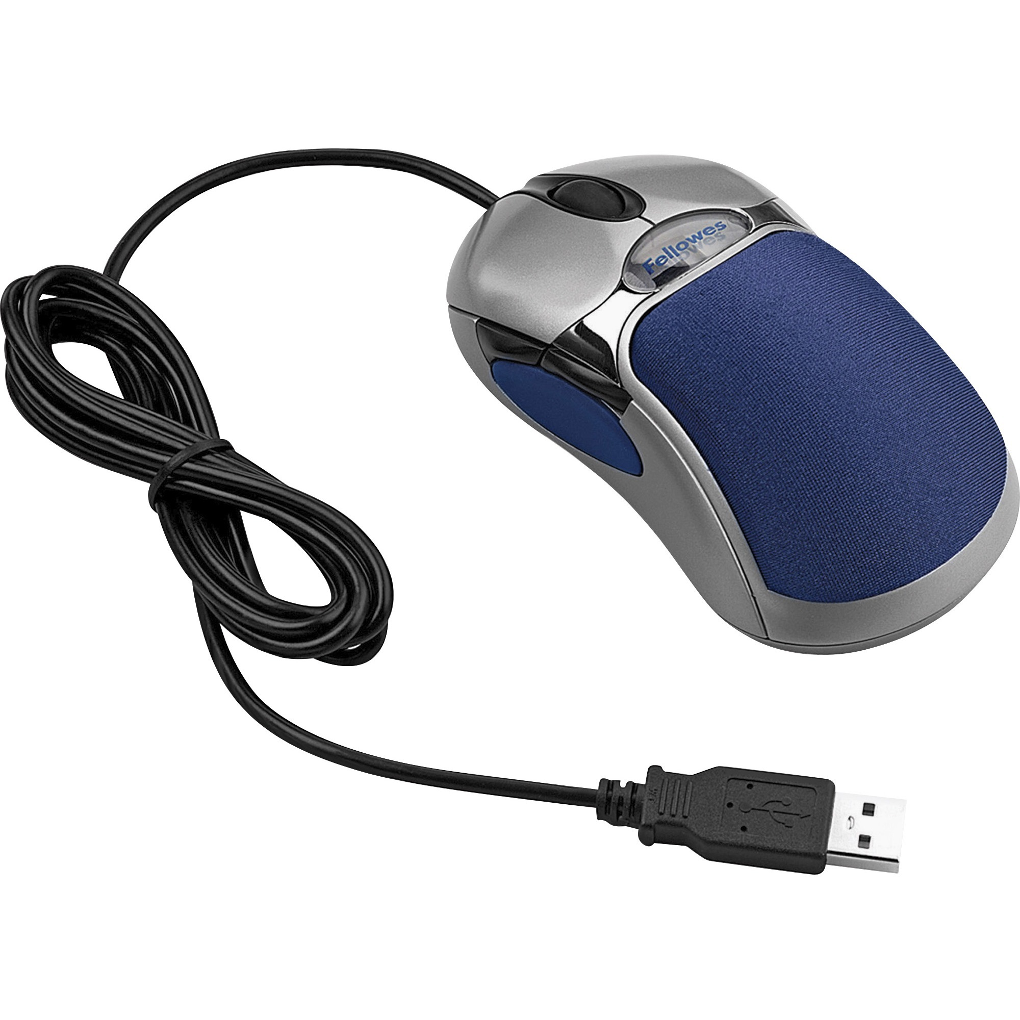 Fellowes 5-Button Optical Mouse with HD Precision, Silver, Blue