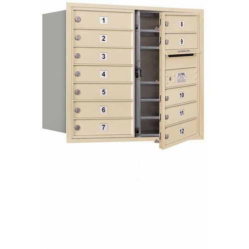"Salsbury Industries 4C Horizontal Mailbox 7-Door High Unit (27""), Double Column, 12 MB1 Doors, Aluminum, Front Load, USPS Access"