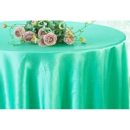 Wedding Linens Inc. 90'' Round Satin Table Cover Tablecloth - Tiff Blue / Aqua Blue Aqua Table Cover