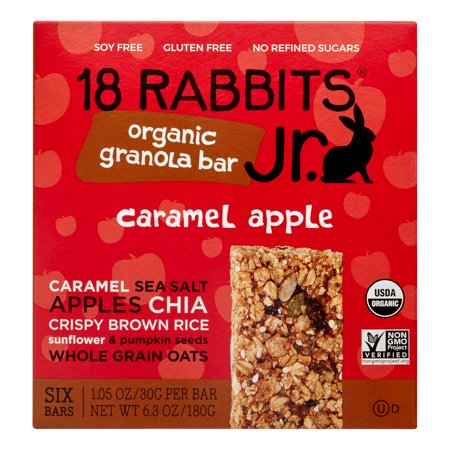 18 Rabbits Caramel Apple Jr. Organic Granola Bar, 1.05 Oz, 6 Ct