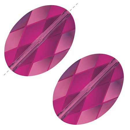 Swarovski Crystal Oval Beads - Swarovski Crystal, #5050 Oval Beads 14mm, 2 Pieces, Fuchsia
